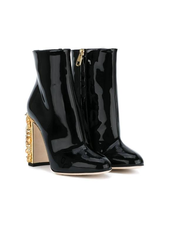 Dolce & Gabbana NEW & SOLD OUT Black Gold Crystal Spike Ankle Booties in Box In New Never_worn Condition For Sale In Chicago, IL