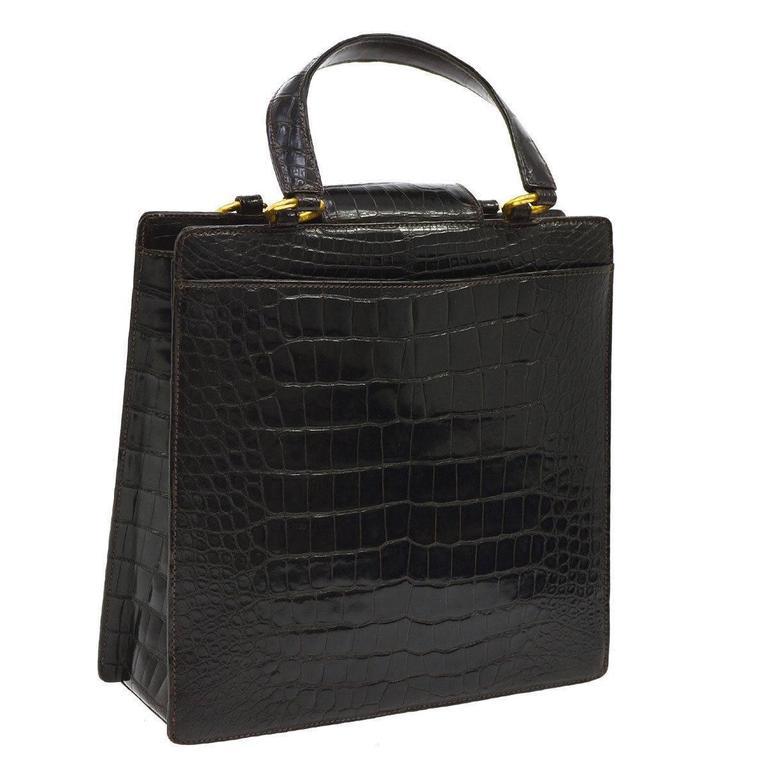 Chanel Crocodile Gold Kelly Evening Top Handle Satchel Bag 3