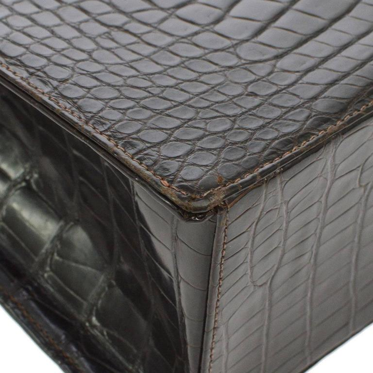 Chanel Rare Vintage Crocodile Gold Kelly Style Evening Top Handle Satchel Bag 5
