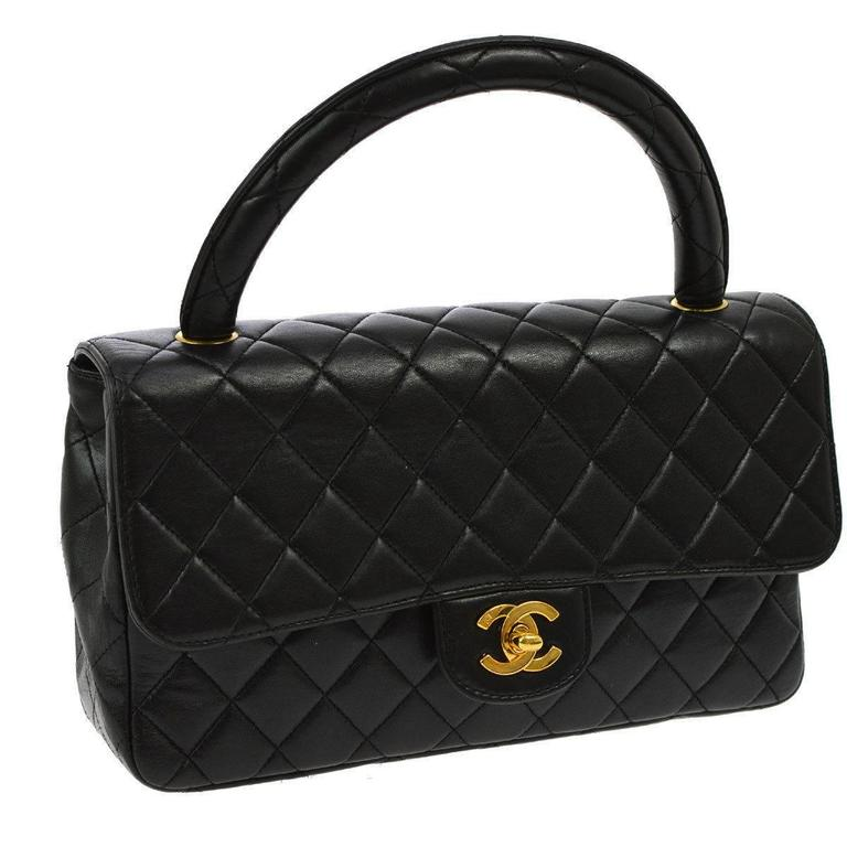 f3cafb833961a6 Chanel Black Lambskin Kelly Style Evening Top Handle Satchel Bag For Sale
