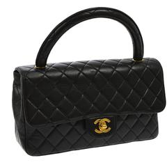 Chanel Black Lambskin Kelly Style Evening Top Handle Satchel Bag