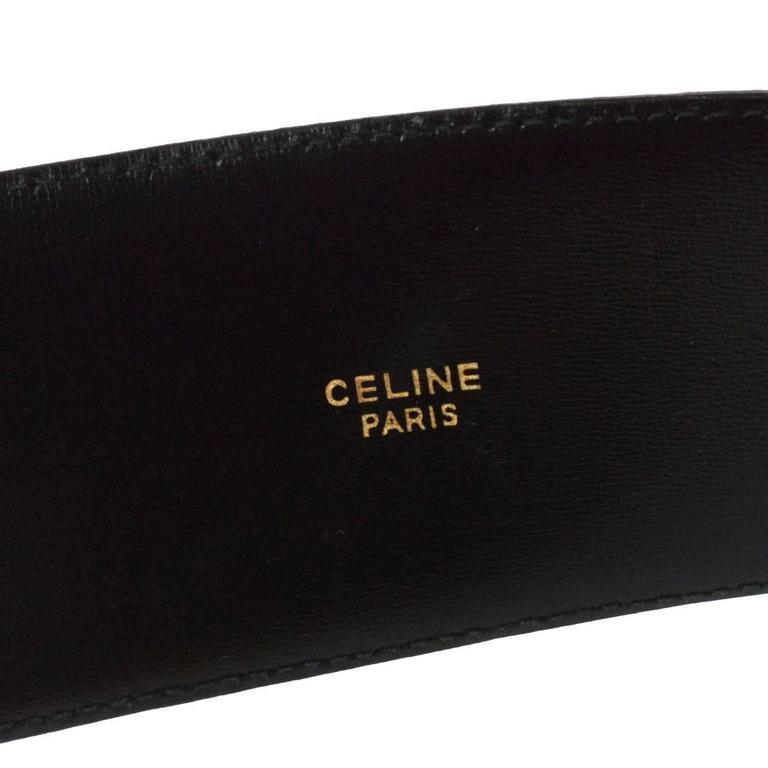 Celine Black Leather Gold Chain Toggle Waist Belt 4