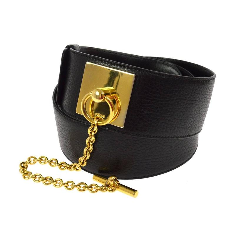 Celine Black Leather Gold Chain Toggle Waist Belt