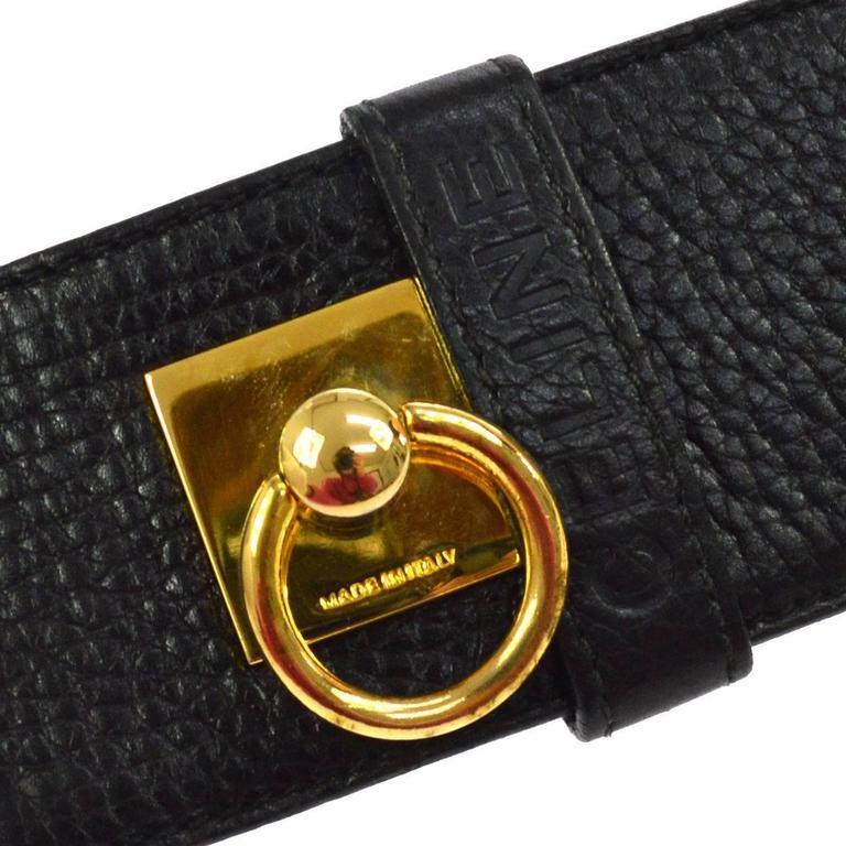 Celine Black Leather Gold Chain Toggle Waist Belt 2
