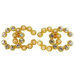Chanel Vintage Gold Rhinestone Pearl Charm Evening Stud Statement Earrings