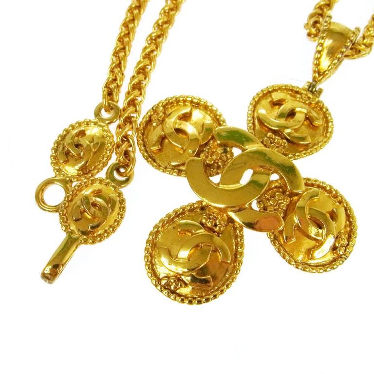 Chanel Vintage Gold Chain Link Multi Charm Medallion Evening Pendant Necklace  2
