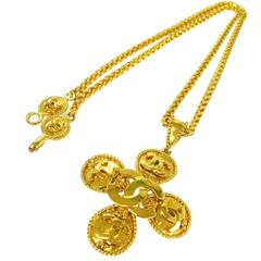 Chanel Vintage Gold Chain Link Multi Charm Medallion Evening Pendant Necklace