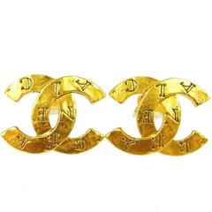 Chanel Vintage 'CHANEL' Engraved Gold Charm Button Stud Earrings
