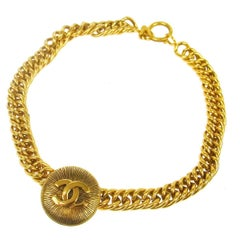 Chanel Vintage Gold Textured Charm Coin Medallion Link Evening Choker Necklace