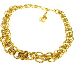 Chanel Rare Vintage Textured Gold Interwoven Link Evening Choker Necklace