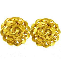Chanel Vintage Gold Link Charm Button Stud Evening Earrings