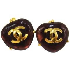 Chanel Vintage Gripoix Glass Stone Charm Stud Button Evening Earrings