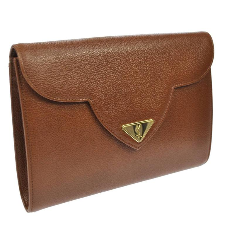 YSL Cognac Leather Gold Hardware Envelope Top Handle Evening Clutch Bag