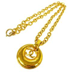 Chanel Vintage Gold Long Link Oval Medallion Coin Charm Necklace