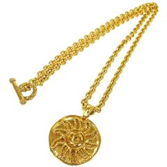 Chanel Vintage Gold Textured Sun Charm Coin Link Long Drape Necklace in Box