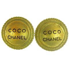 Chanel Vintage Gold CHANEL PARIS Charm Round Evening Stud Earrings