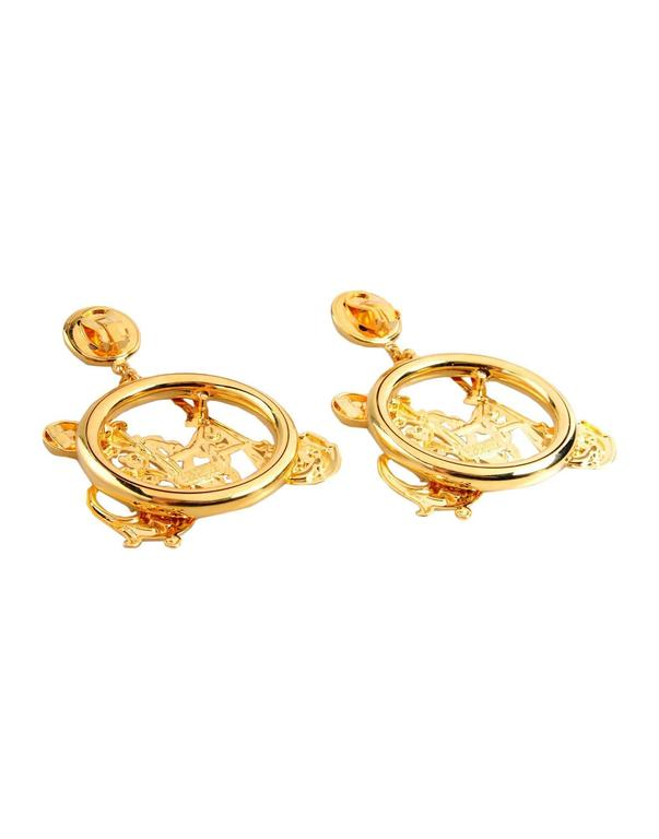 Moschino NEW Gold Filigree Monogram Large Evening Dangle Hoop Earrings 2