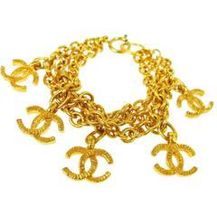 Chanel Vintage Gold Multi Charms Multi Strand Link Bracelet
