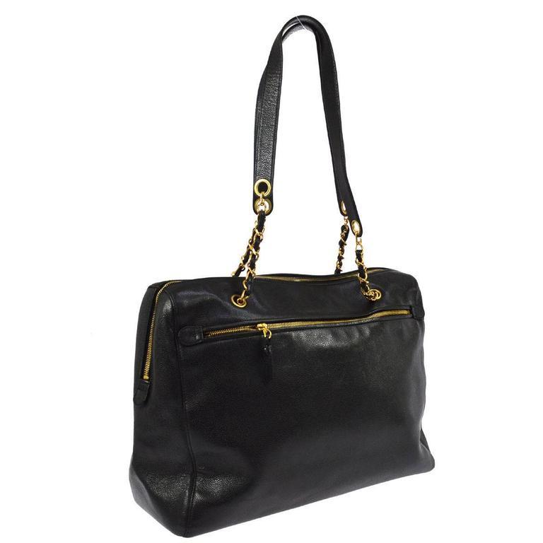 Chanel Vintage Black Caviar Leather Oversize Weekender Travel Tote Bag 3