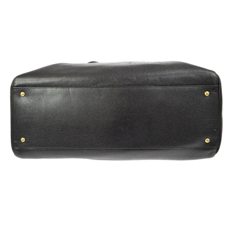 Chanel Vintage Black Caviar Leather Oversize Weekender Travel Tote Bag 4