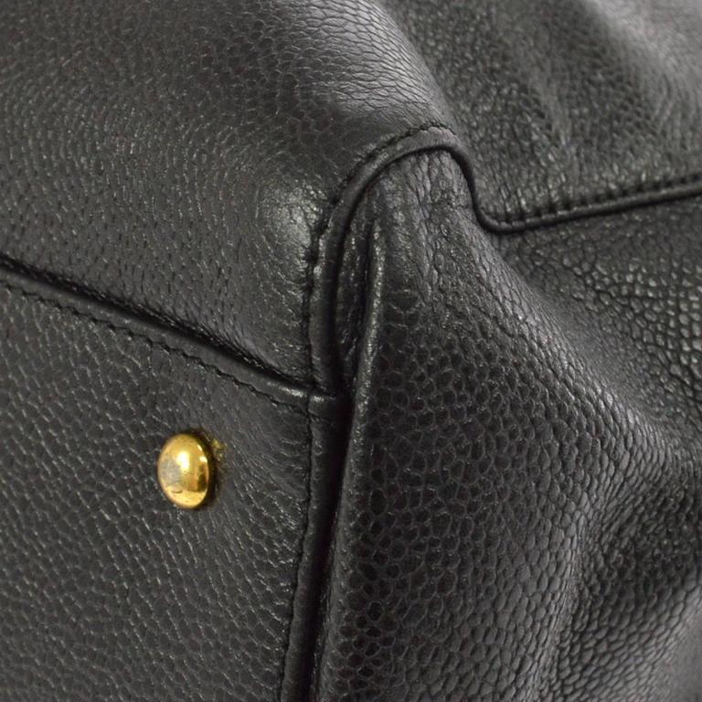 Chanel Vintage Black Caviar Leather Oversize Weekender Travel Tote Bag 5