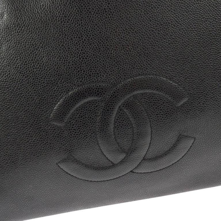 Chanel Vintage Black Caviar Leather Oversize Weekender Travel Tote Bag 2
