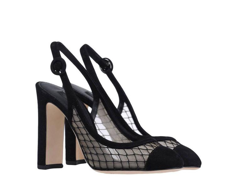 Dolce & Gabbana NEW & SOLD OUT Black Suede Mesh Heels Pumps in Box 2