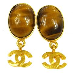 Chanel VIntage Gold Charm Cognac Brown Evening Dangle Drop Earrings