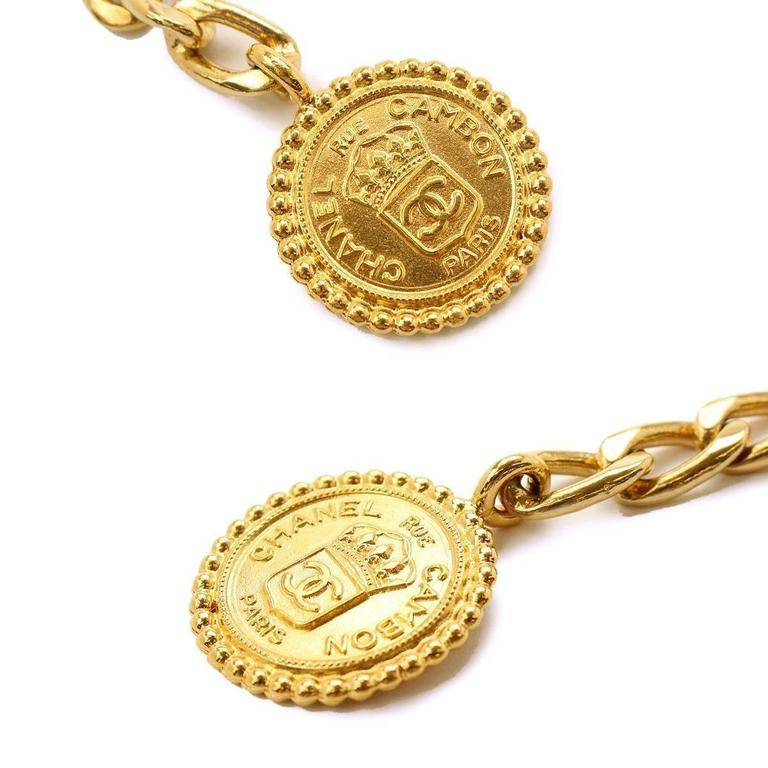 Chanel Vintage Gold Multi Strand Link Medallion Charm Waist Belt 2