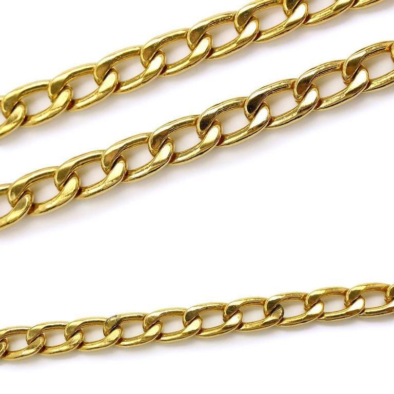 Chanel Vintage Gold Multi Strand Link Medallion Charm Waist Belt 3