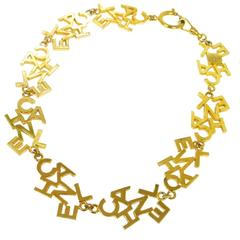 Chanel Vintage Gold 'CHANEL' Charm Letters Choker Necklace