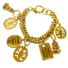 Chanel Gold Multi Charm Dangle Bracelet