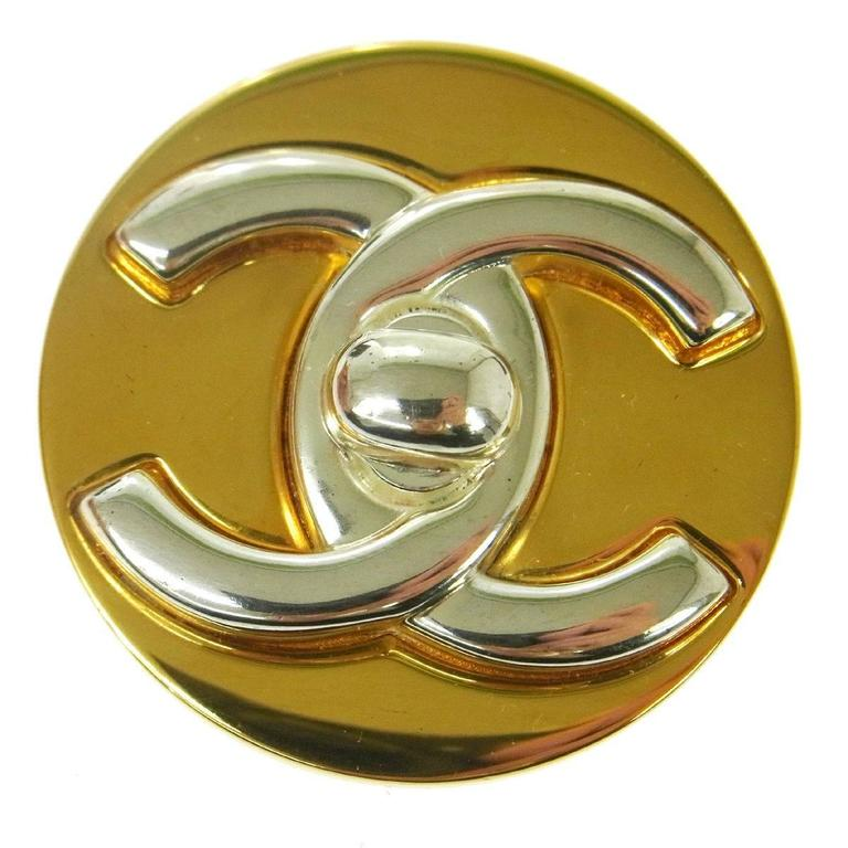 Chanel Two Tone Gold Silver Charm Brooch