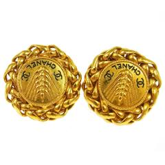 Chanel Gold Textured Chain Black Round Stud Earrings