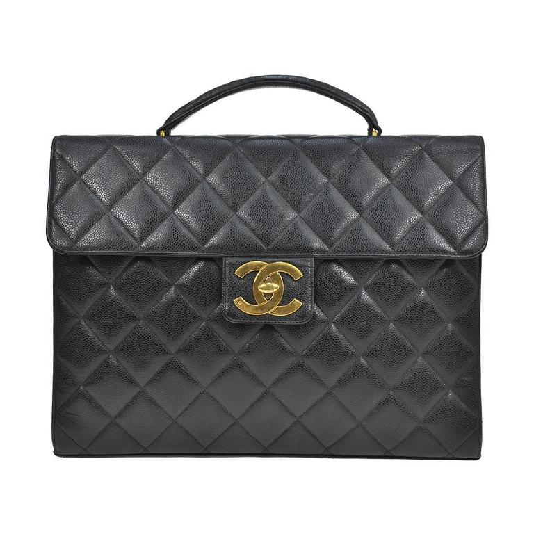 Chanel Caviar Leather Carryall Business Top Handle Travel Brief Briefcase Bag