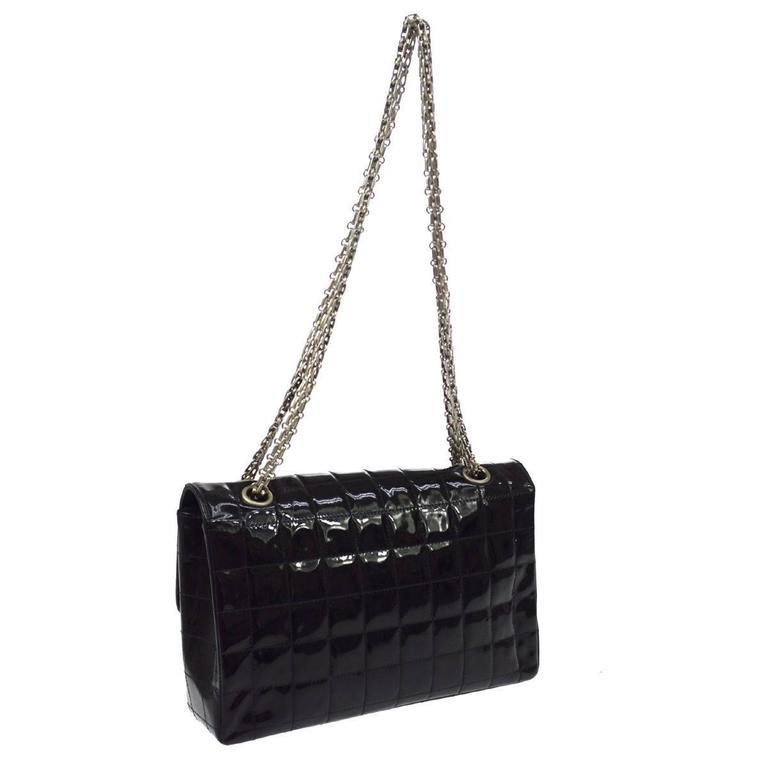 Women's Chanel 2.55 Black Patent Leather Chocolate Bar Silver Evening Shoulder Flap Bag