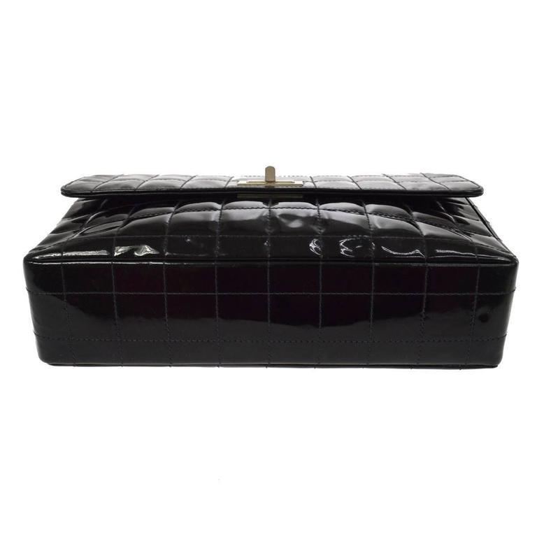 Chanel 2.55 Black Patent Leather Chocolate Bar Silver Evening Shoulder Flap Bag 1