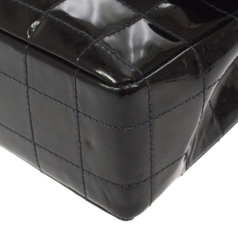 Chanel 2.55 Black Patent Leather Chocolate Bar Silver Evening Shoulder Flap Bag 2