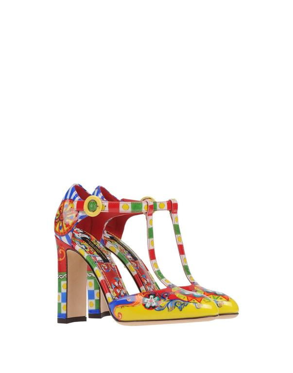 "CURATOR'S' NOTES  Dolce & Gabbana NEW & SOLD OUT Runway Multi Color Pumps in Box  Size IT 35.5 Leather Adjustable ankle strap closure Made in Italy Heel height 4"" Includes original Dolce & Gabbana box"
