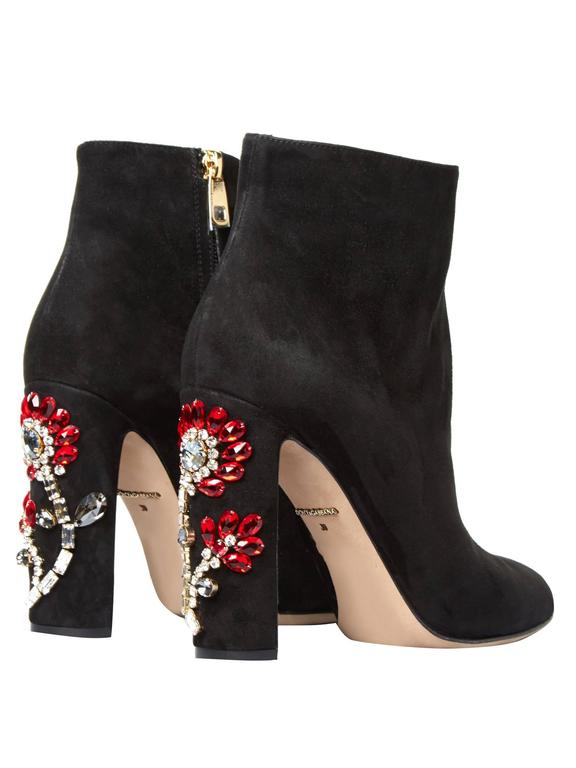 Dolce & Gabbana NEW & SOLD OUT Black Suede Crystal Ankle Booties in Box 2