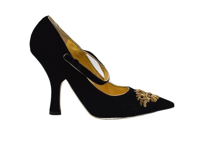 Dolce & Gabbana NEW & SOLD OUT RUNWAY Black Gold Evening Mary Jane Heels in Box For Sale 1