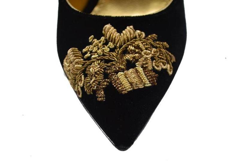 Dolce & Gabbana NEW & SOLD OUT RUNWAY Black Gold Evening Mary Jane Heels in Box 3