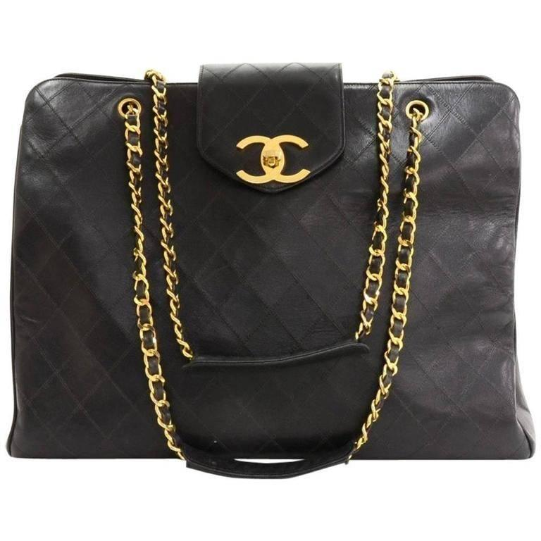 Chanel Vintage Large Black Caviar Leather Weekender Shopper Tote ...