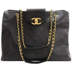 Chanel Vintage Large Black Caviar Leather Weekender Shopper Tote Travel Bag