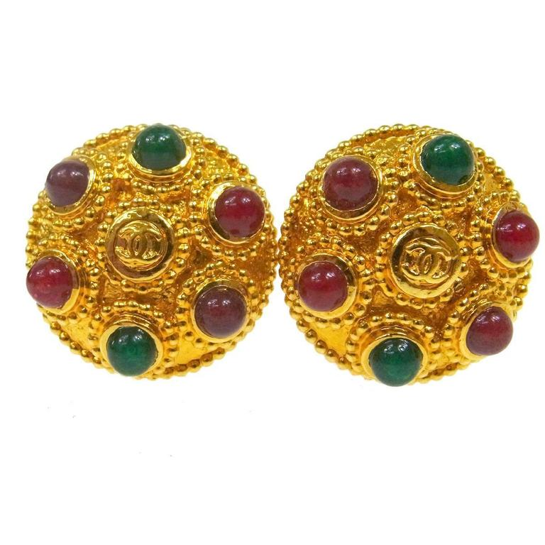 Chanel Vintage Gold Multi Color Gripoix Evening Charm Stud Earrings For