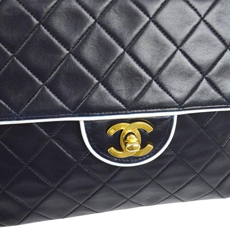 d9e9ddee9a6826 CURATOR'S NOTES Chanel Vintage Two Tone White Piping Lambskin Leather  Evening Clutch Flap Bag available at