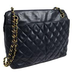 Chanel Vintage Lambskin Leather Dual Slip Pocket Camera Shopper Shoulder Bag