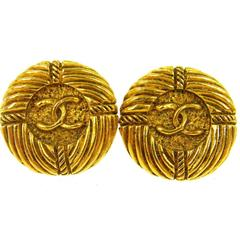 Chanel Vintage Gold Textured Stud Evening Earrings