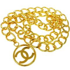 Chanel Vintage Gold Circle Coin Charm Link Evening Waist Belt
