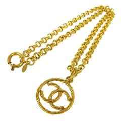 Chanel Vintage Textured Gold Charm Coin Pendant Link Necklace in Box